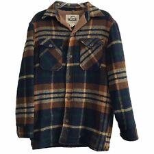 Vintage Woolrich Men's Brown + Blue Plaid Wool Hunting Outdoor Jacket - M
