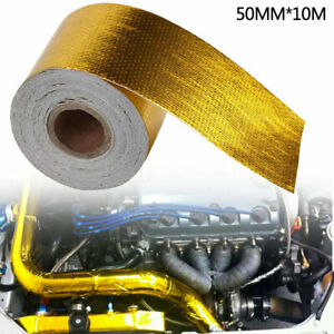 10M Aluminum Foil Thermal Insulation Tape Self-Adhesive Heat Shield Wrap + Hoops