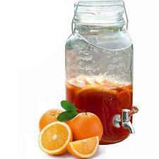 4L Vintage Glass Drink Dispenser Jar With Tap & Handle Water Juice Drink Home