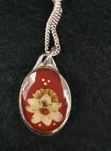 Dainty Pressed Flower necklace on silver chain