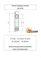 10x Bund Kugellager MF 117 ZZ 7x11x3 mm Flange Bearing Flansch Kugellager