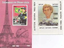 PAIR OF AYRTON SENNA FORMULA 1 RACING RACE CAR DRIVER MNH STAMP SHEETLETS