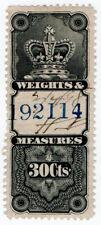 (I.B) Canada Revenue : Weights & Measures 30c