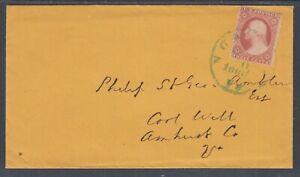 US Sc 26 on 1860 cover to Amhurst, blue 30mm Norfolk, Va CDS