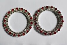 1 Pair Double Silver Tone with Red Diamonte/Rhinestone Rings for Browbands -5cm