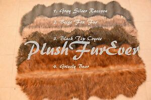 """24"""" x 59"""" A27 LODGE CABIN RUG Grizzly Coyote Fox Raccoon Fur Runner Area Rug"""