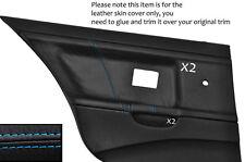 BLUE STITCH 2X REAR DOOR CARD LEATHER COVERS FITS BMW E36 SALOON SEDAN 91-98