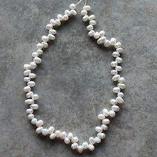 Natural White Genuine Freshwater Pearl Rice Loose Beads Strand 15""