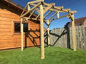 2.4m x 2.4m x 2.1m timber wooden garden GAZEBO pergola Delivered most post codes