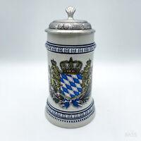 """Antiker Bierkrug """"Bayern"""" mit Zinndeckel, Krug Zinn- Wappen Bayern ca. 18cm"""