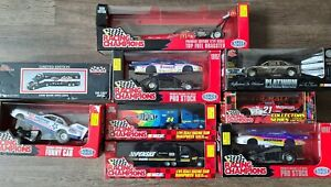 LOT OF 9 Racing Champions Nascar/NHRA Diecast 1/24 & 1/64 Scale 1996-1997