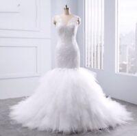 UK New Layered White Lilac Lace  Mermaid Sleeveless Wedding Dresses Size 10