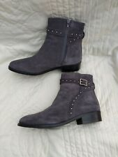 NEXT Grey Suede Leather Studded Ankle Boots  👢 ** Sz  6.5 or euro 40.  New