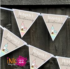 Personalised Christening Baptism Party Decoration Bunting Banner Sign Twins