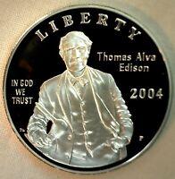 2004 Thomas Alva Edison PROOF Silver Dollar Commemorative $1 US Mint Coin ONLY