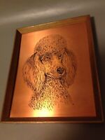 Vintage Mid Century Copper Craft Etching Poodle Dog Picture Art Wall