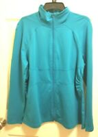 Z by Zella Solid Teal  Blue Full Zip Stretch Mock Neck Active Athletic Jacket Si