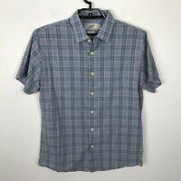 Grayers Clothiers Shirt Size L Cotton Blue Yellow Plaid Short Sleeve Mens