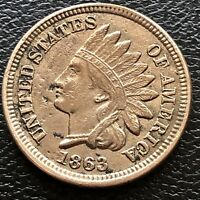 1863 Indian Head Cent AU Details High Grade One Penny Copper Nickel  #20504