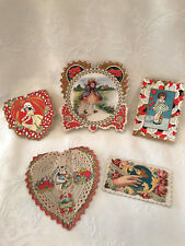 #4 Vintage 1920's Collection (5) Whitney Made, Lace, Die Cut Valentine Cards