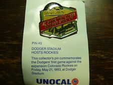 Los Angeles Dodgers Dodger Stadium Hosts Rockies May 21, 1993 Pin #3 Unocal 76