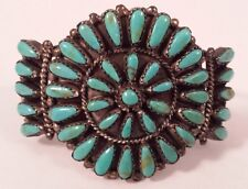 Paul Jones Vintage Navajo Indian Sterling Silver Teardrop Turquoise Bracelet
