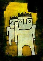 21041207 e9Art ACEO Abstract Figurative Outsider Folk Art Brut Painting Original