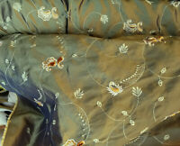 "Two Tone Embroidered 100% Poly Taffeta Silk Like Fabric 60"" Wide, sold by yard."