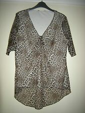 BNWOT LADIES  LINED LEOPARD PRINT STRETCHY LONG LINE BLOUSE TOP  16