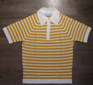 McGREGOR Spanish Rib Vintage Yellow/Cream Striped Butterfly Collar Polo Size M