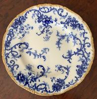 Vintage CAULDON flow blue floral design white blue gold dessert plate England