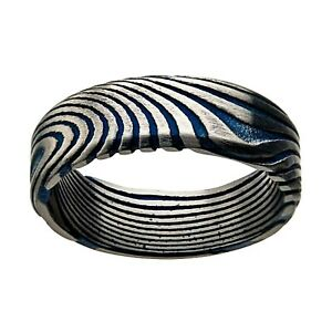 INOX 316L Stainless Steel Damascus 7mm Blue Accent Men's Wedding Band Ring
