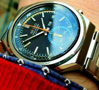 Seiko Blue Eye Chronograph 6139b 7060 Day Date automatic RARE Black Dial Watch