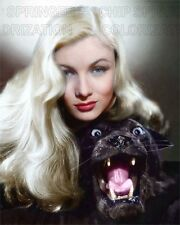 VERONICA LAKE AND A BLACK PANTHER BEAUTIFUL COLOR PHOTO BY CHIP SPRINGER