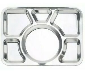 Stainless Steel 6 Compartment Food Serving Dish Indian Large Thali Dinner Plate