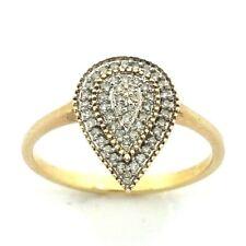 Ladies/Da Donna 9ct/Anello in oro 9 CARATI CON UN DIAMANTE A GOCCIA Cluster, Regno Unito taglia P