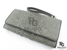PELGIO Genuine Python Snake Skin Leather Clutch Wrist Wallet Women's Purse Brown