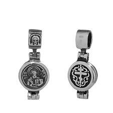 Sterling Silber 925 Orthodoxe Anhänger Hl Nikolaus Medallion zum Öffnen 36252