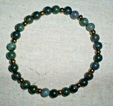 "Bloodstone&Brass Color Ee Beads Handmade7.75"" Wrist/Ankle Bracele 6mm African"