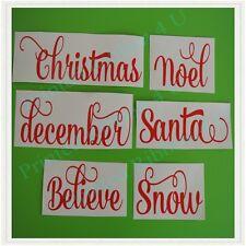 Set Of 6 Christmas Vinyl Wording Decals For Shadow Box Frame Glass Blocks Santa