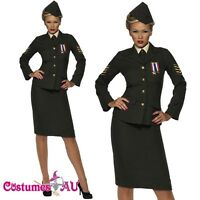 Ladies Retro 40s Army Wartime Officer Costume ww2 1940s Military Fancy Dress