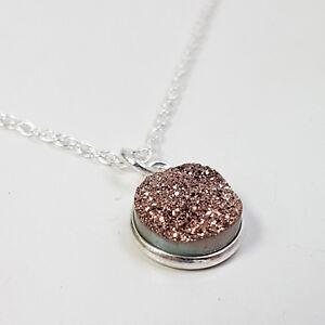 Copper Druzy Sparkle Pendant Drop Necklace - Sterling Silver