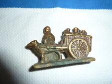 Antique Brass Belgium Milk Maid With Cart and dog