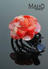 JAPANESE HAIR clip KANZASHI style KIMONO hairclip claw Camellia AKAI Tsubaki RED