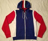 Tommy Hilfiger Fleece Lined Hoodie Red White Blue Sweatshirt Box Logo Full Zip