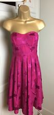Next Ladies Short Cocktail Dress UK 8 Fitted Bodice Flared Skirt Red Brocade