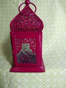 GlobeIn Deep Rose Pink Metal + Embossed Glass Small Tea Light Lantern NEW India