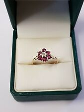 9ct yellow gold ruby's and diamond ring Vintage