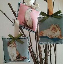 Little fabric mini cushions 3 x cat pillow hangers pin cushion car mirror hanger