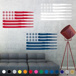 Ammo Bullet American Flag Decal Sticker Wall Art Gun Living Room House Decor V1